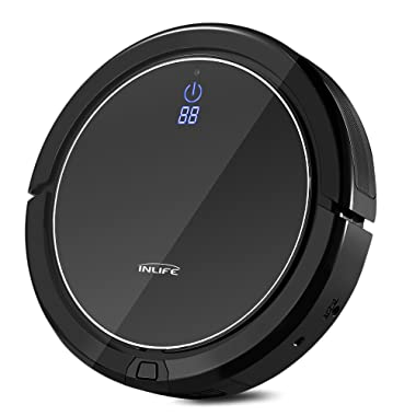 INLIFE i7 Self Charging Robotic Vacuum Cleaner with Strong Suction, Drop Sensing Technology for Hard Floor and Low Pile Carpet (Black)