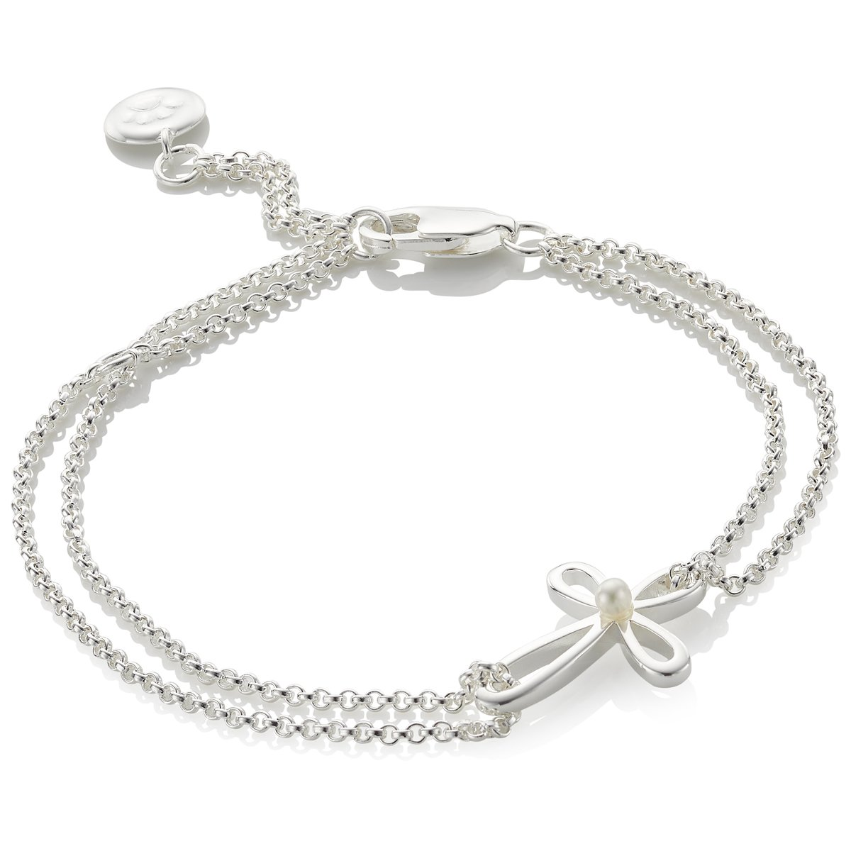 Molly Brown London | Girl's Cherish Sterling Silver and Freshwater Pearl Cross Bracelet 5060405233484
