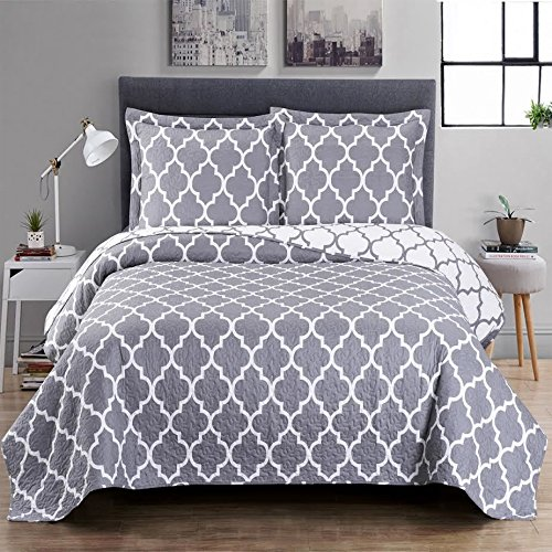 Meridian Grey Full/Queen Size, Over-Sized Quilt 3pc set 92x96