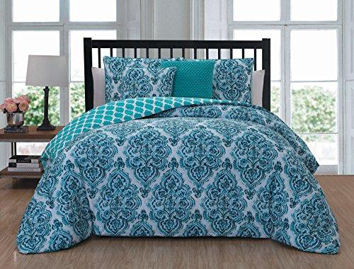 Geneva Home Fashion Teagen 5 Piece Comforter Set King  Blue