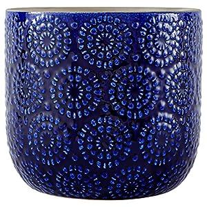 "Stone & Beam Modern Stoneware Floral Embossed Planter, 7.4"" H, Blue"