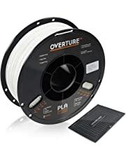 OVERTURE PLA Filament 1.75mm with 3D Build Surface 200mm × 200mm 3D Printer Consumables, 1kg Spool (2.2lbs), Dimensional Accuracy +/- 0.05 mm, Fit Most FDM Printer (White)