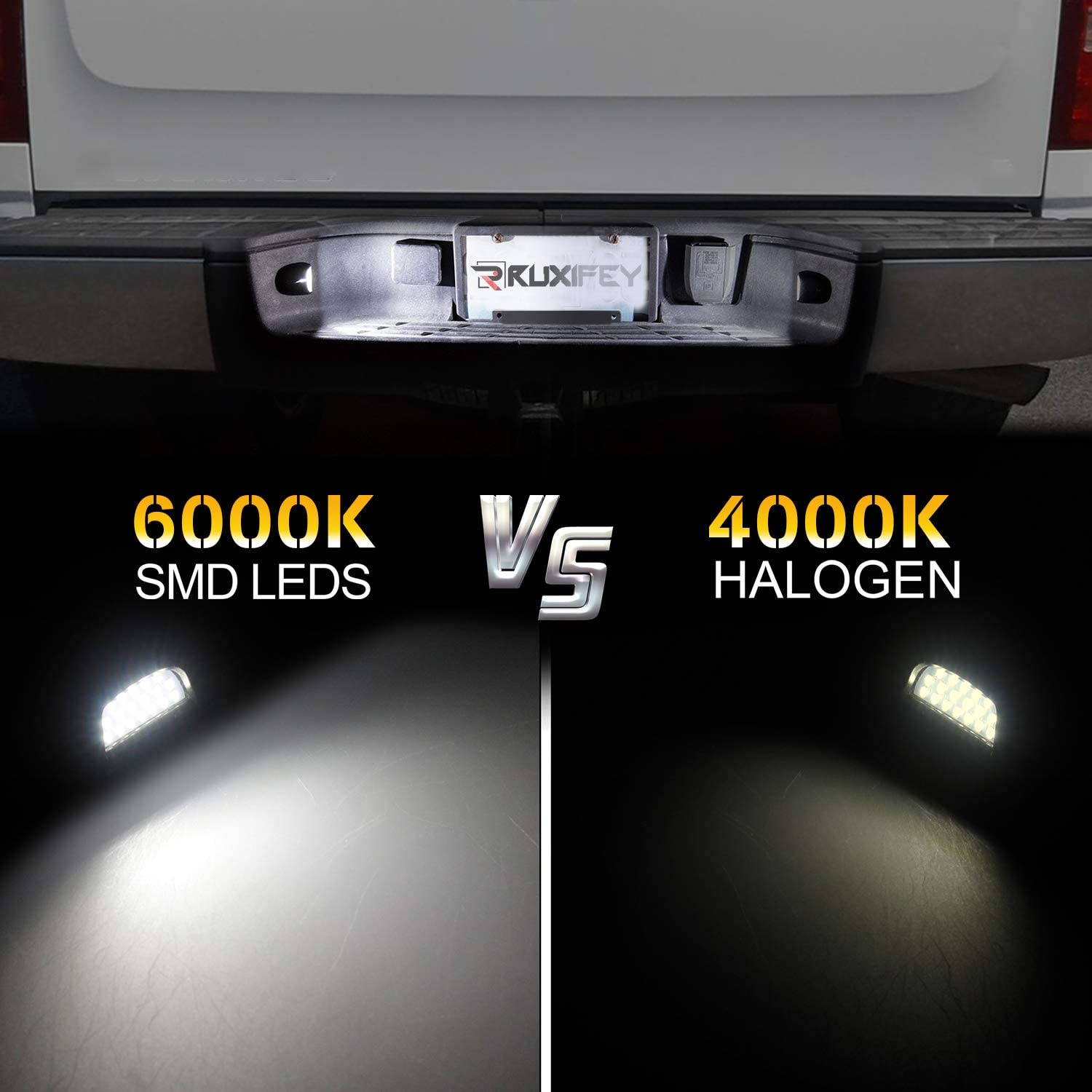 6000K White RUXIFEY LED License Plate Light with Socket Wiring Harness Plugs Compatible with Chevy Silverado Tahoe Suburban GMC Sierra 1500 2500 3500 HD Escalade EXT