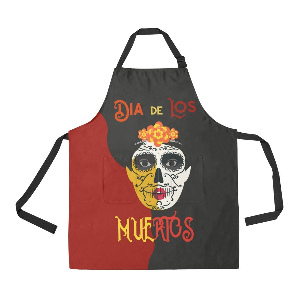Artsadd Adjustable Apron Withポケットの日のDead Woman with Sugar Skull Face All Over Printエプロン   B079GWPQGS