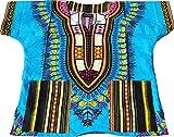 Raan Pah Muang RaanPahMuang Unisex Childrens African Dashiki Throw Over Bold Print Boubou Shirt, 6-8 Years Tall, Bold Blue