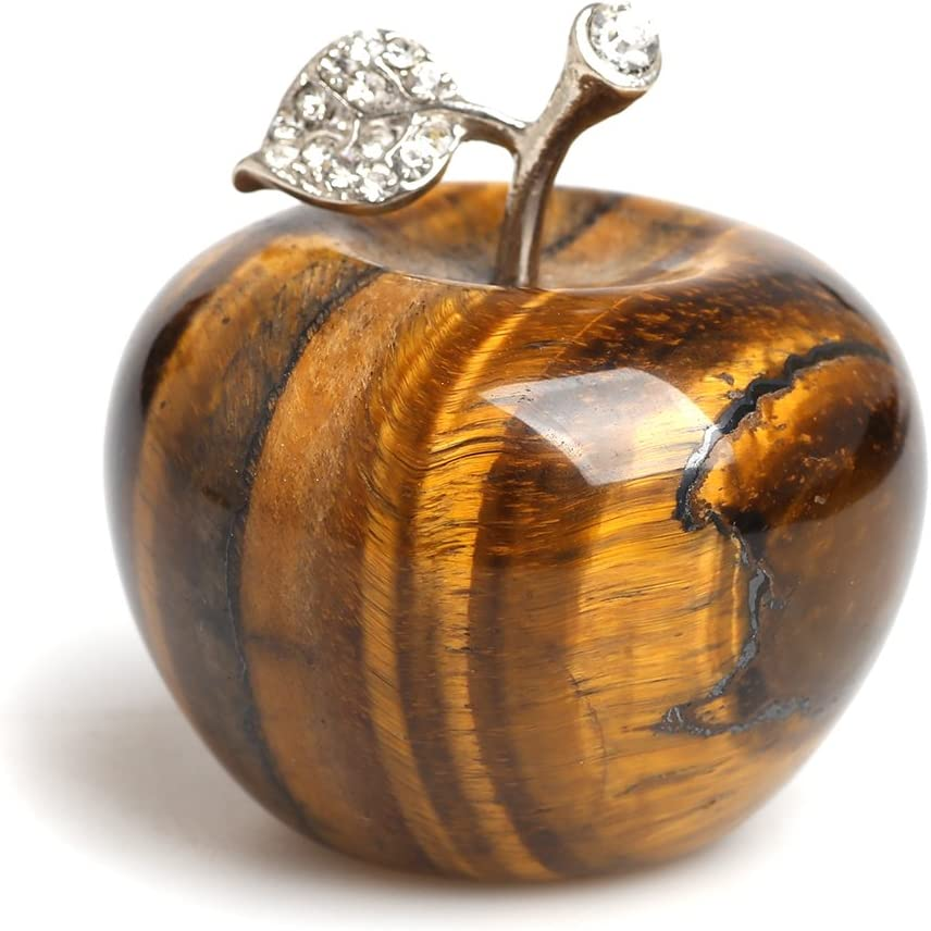 Hongjintian 1.8Inches Natural Tiger Eye Quartz Crystal Apple Figurine Statue Paperweight Craft Decoration