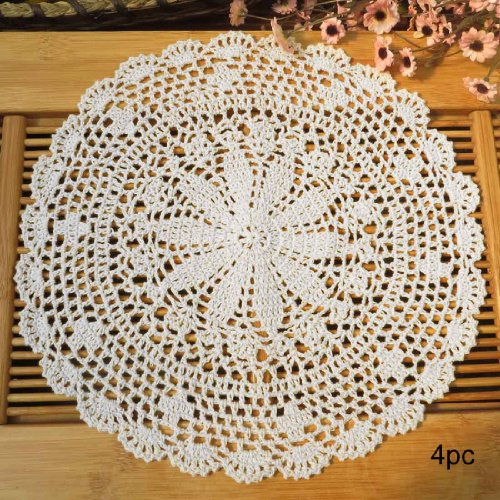 (kilofly Crochet Cotton Lace Table Placemats Doilies Value Pack, 4pc, Persia, White, 13.7 inch)