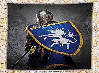 Medieval Decor Fleece Throw Blanket Medieval Knight Holding Shield and Sword Aged History Rusty Design Artwork Throw