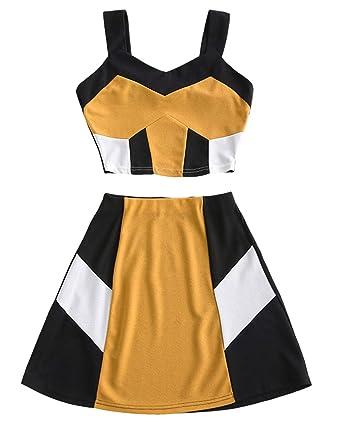 15144f31a9 ZAFUL Womens Crop Color Block Top A Line Skirt Set Tank Tops Mini Dress 2  Piece