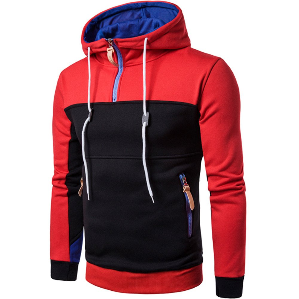Fashion Patchwork Long Sleeve Men Pullover Coat Stand Collor Sweater Sweatshirt Tops REYO Mens Jackets Casual Sale