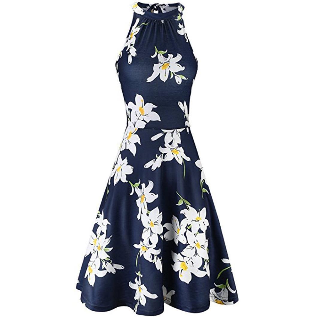 Fiaya 2018 Womens Summer Beach Floral Print Halter Empire Waist Sleeveless Casual A Line Dress (XL, Navy2) by Fiaya