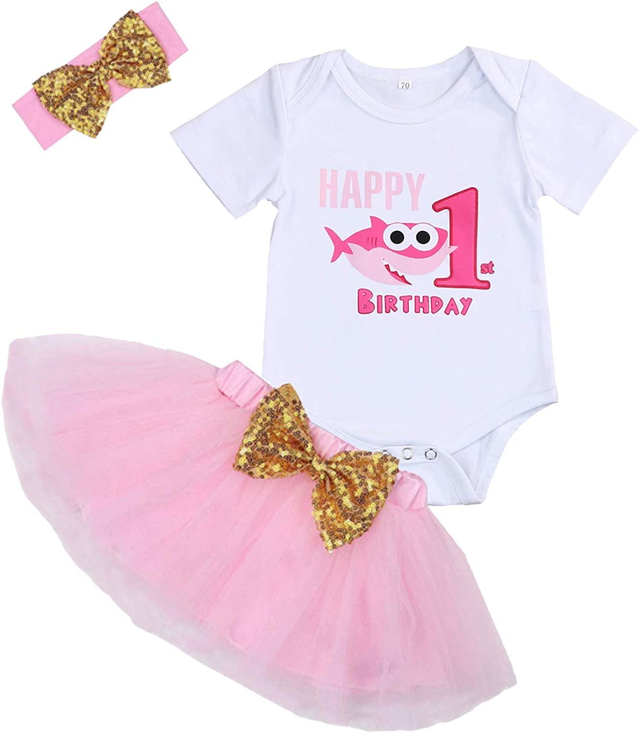 Baby Girl Birthday Shark Cake Smash Outfit Infant Girl 1st Birthday Romper Tutu Skirt with Headband Clothes Set