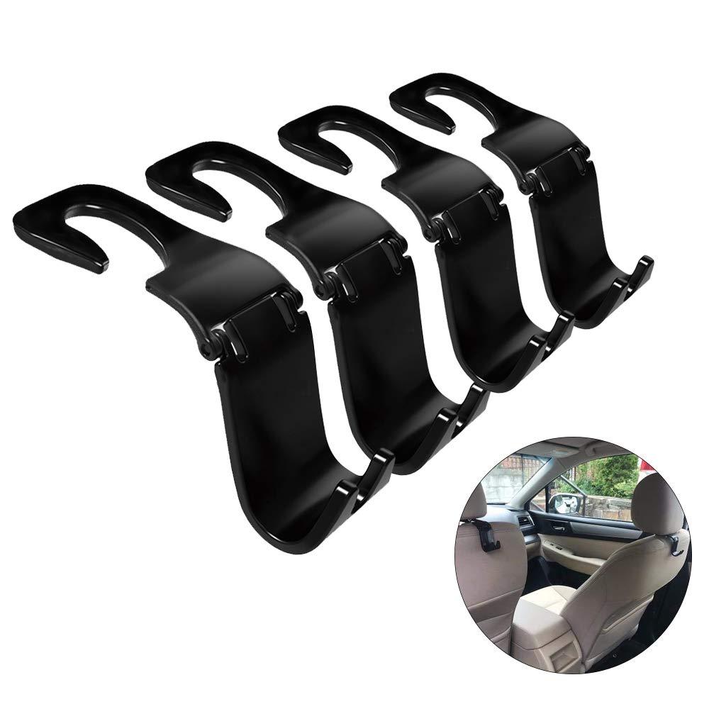Car Headrest Hook GMW Vehicle Seat Headrest Hanger Hook 4 Pack for Handbag Purse Coat and Grocery Bag