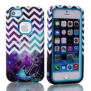 iPhone 5 5s Case,Hybrid Layer Long Lifetime Armor Shockproof Case-Sky Waves Soft Silicone Defender Back Blue Internal Full Body Bumper Box Case Cover For iPhone 5 5S