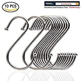 Andreu 10-Pack Premium Stainless Steel Metal S Hooks Kitchen Pot Pan Hanger Clothes Storage Rack Polished For Your Pots And Pans, Utensils, Towels, Ties And Much More. (3.9 inches)