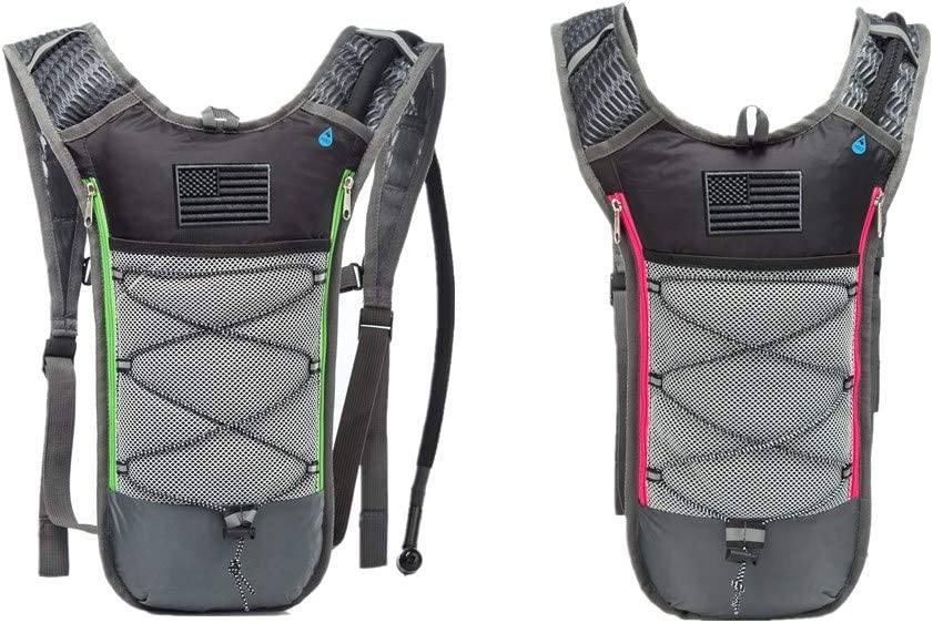 AXEN Rave Hydration Pack Backpack - 2L Water Bladder Included for Festivals, Raves, Hiking, Biking, Climbing, Running and More (3 Pocket)