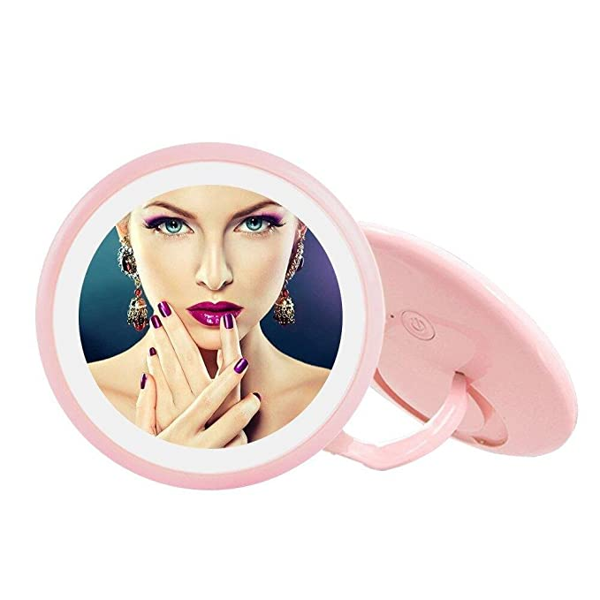 Weton LED Lighted Makeup Mirror, Portable Travel Cosmetic Beauty Mirror 90° Adjustable Cordless Finger Ring Stand Vanity Makeup Mirror with Foldable Swivel Ring