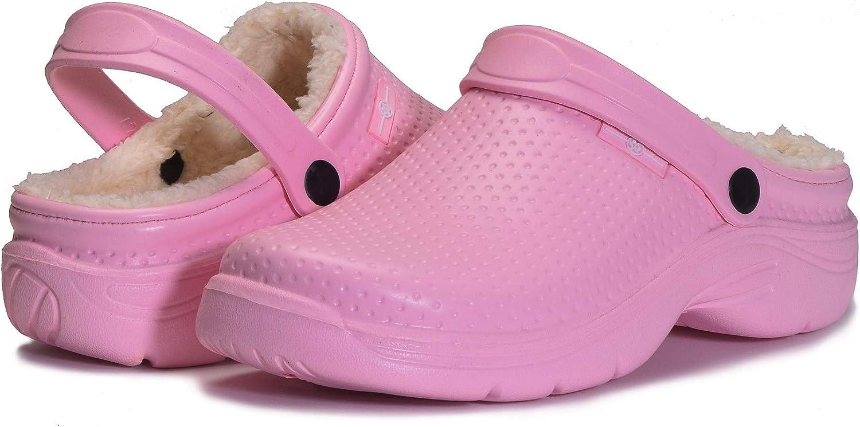 Zapatillas de Estar en casa Hombre Zuecos Mujer Invierno Zapatos de jard/ín Impermeable Pantuflas Forro Pelusa Caliente Zapatilla de Interior Rosa-A 41EU