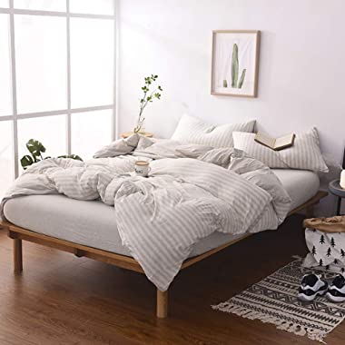 DOUH Jersey Knit Cotton Duvet Cover Set, Ultra Soft 3 Pieces Striped Comforter Cover and Pillow Shams with Zipper Closure Light Brown King Size