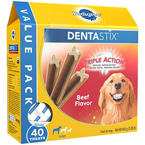 PEDIGREE DENTASTIX Beef Flavor Large Treats for Dogs – Value Pack 2.08 Pounds 40 Treats