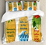 Lunarable Vintage Hawaii Duvet Cover Set King Size, Wooden Surfboards with Quotes About Summer Ocean and Swimming Flower Design, Decorative 3 Piece Bedding Set with 2 Pillow Shams, Multicolor