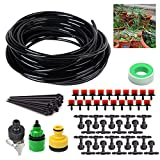 Pawaca Blank Distribution Tubing Watering Drip Kit, 49ft DIY Automatic Irrigation Equipment for Greenhouse Plant Lawn with Hose, Adjustable Dripper, Tee Joints