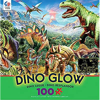 Ceaco Dino Glow in The Dark Dino Party Puzzle (100 Piece): Toys & Games