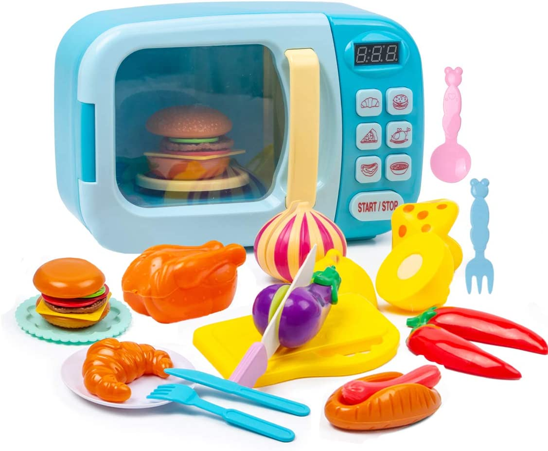 Subao Play-Kitchen Microwave Toys Kids Kitchen Playsets Pretend Play Electronic Oven with Play Food Educational Gifts for Girls Boys Toddlers Kids