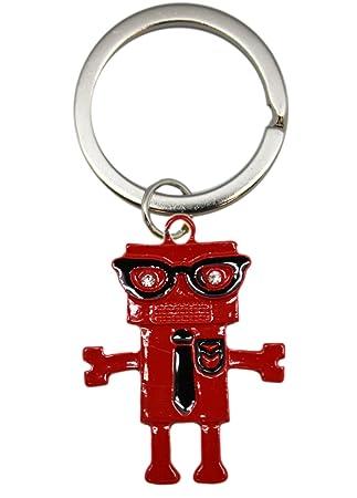 Amazon.com: Robot Nerd Llavero – Robot Geek joyería (Rojo ...