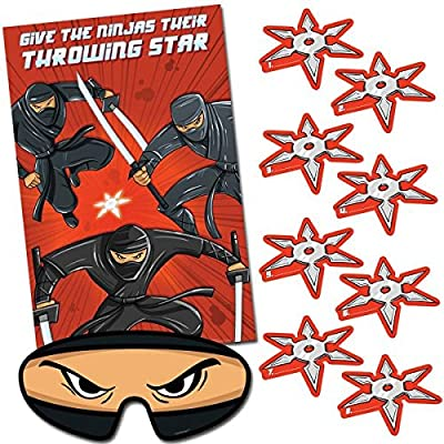 Action Packed Ninja Pin-The-Tail Style Birthday Party Game, Pkg  Size: 11