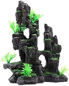 Tfwadmx Aquarium Mountain View, Moss Tree Rock Cave Fish Tank Stone Ornament Aquarium Decoration with Small Plants