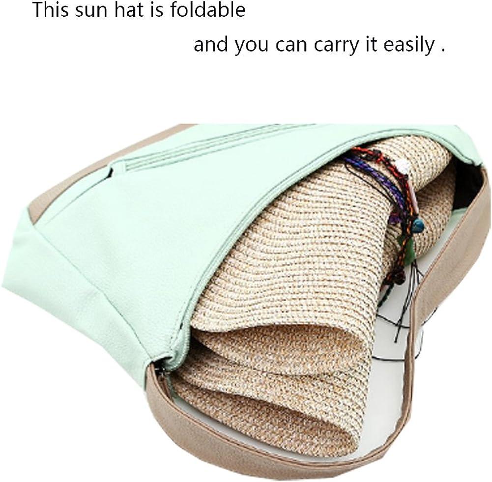 Adrinfly Women Floppy Sun Hat Travel Packable Wide Brim Adjustable Beach Straw Accessories Hat UPF 50+