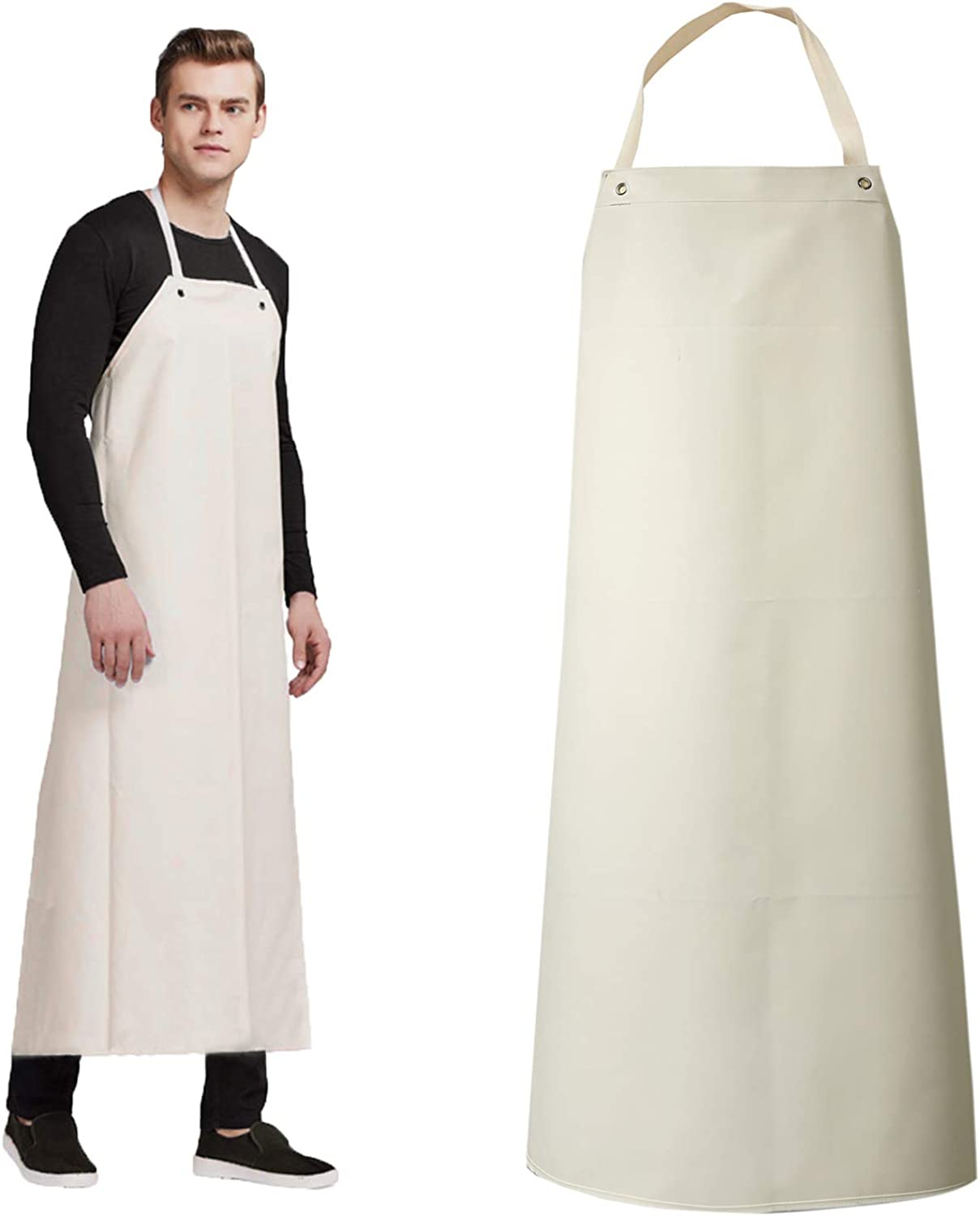 Rubber Waterproof Apron Butcher Heavy Duty -Oil Chemical Resistant Thick Work Safety Aprons - Dog Grooming, DishWashing (White, XL): Clothing