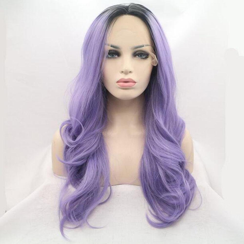 XUAN Lady Woman Daily Wig Front Lace Hooks Wig Can Straighten The Roll Heat Resistant Temperature Silk Wavy 70cm