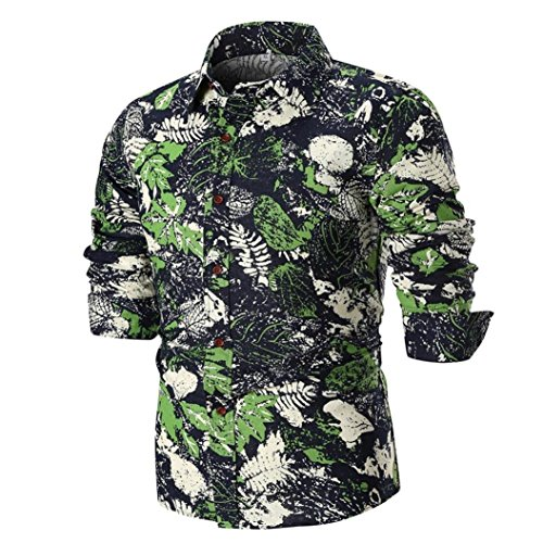 iLXHD Summer Men's Personality Printed Long Sleeve Shirts Tops Blouse(Black 1,M) ()
