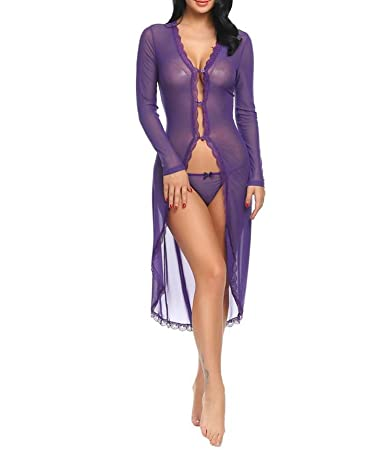 Image Unavailable. Image not available for. Color  Long Sleeve Floral Lace Robe  Women Lingerie Sexy Erotic Sex Bathrobe Dressing Gown Sleepwear ... 8fc2d939d