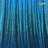 LQIAO 20FTx10FT Turquoise Shimmer Sequin Fabric Backdrop Sequin Curtains Wedding Photo Booth Photography Backdrops for Party/Window/Home Decoration