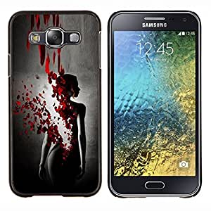 LECELL--Funda protectora / Cubierta / Piel For Samsung Galaxy E5 E500 -- Sangre Rose Petal Vestido Negro Mujer --