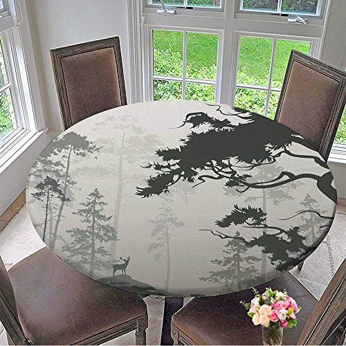 (Mikihome Picnic Circle Table Cloths Foggy Landscape with Silhouette of Forest,Pine Trees and Deer,Brown Tones for Family Dinners or Gatherings 59