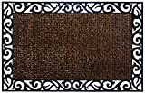 GrassWorx Clean Machine Wrought Iron Stems and Leaves Doormat, 24'' x 36'', Coffee Bean (10376396)