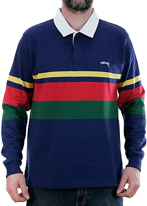 0404f1eeba272 Stussy Lucas Stripe Long Sleeved Rugby Shirt Navy Medium  Amazon.co ...
