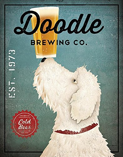 White Labradoodle Brewing Co by Ryan Fowler 14x11 Signs Dogs Animals Art Print Poster Wall Decor Vintage Advertising Beer Sign Labra Doodle