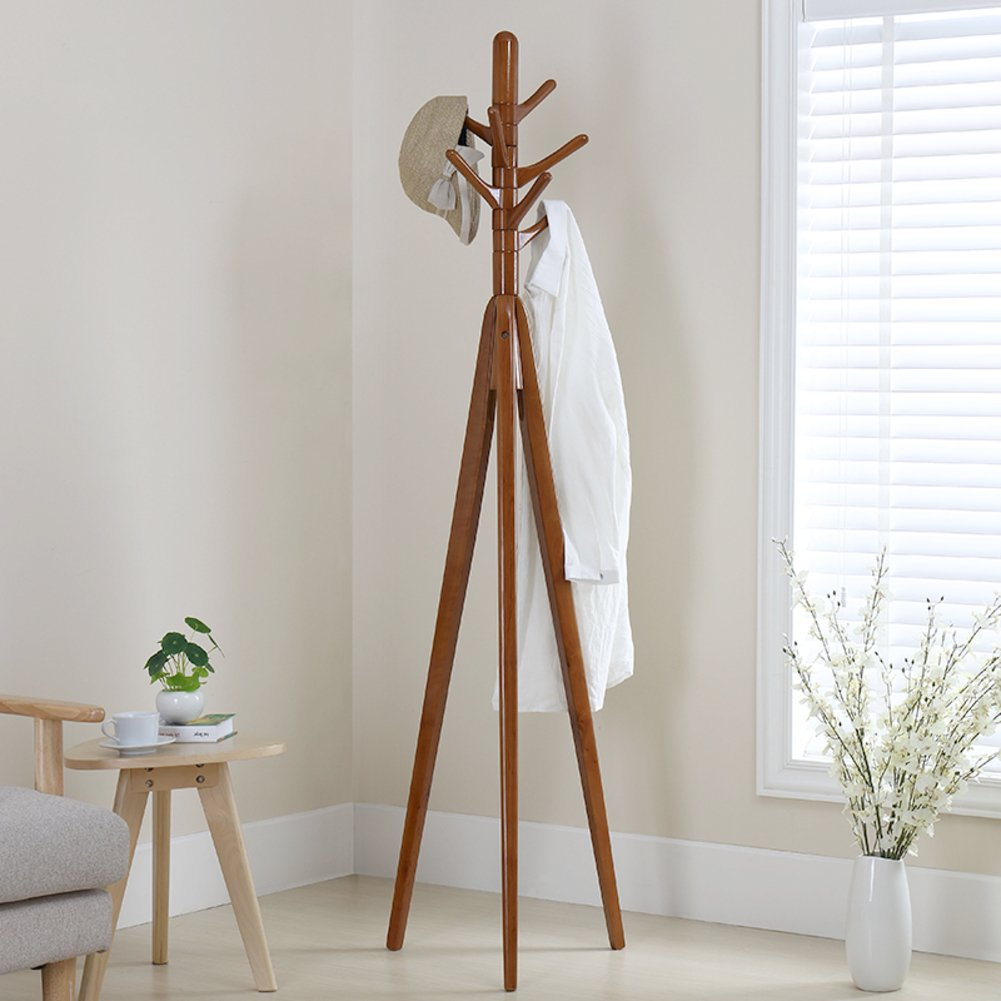 Solid wood Multifunction Coat stand Garment rack,Heavy duty Sturdy construction Hanger-B 178x46cm(70x18inch)