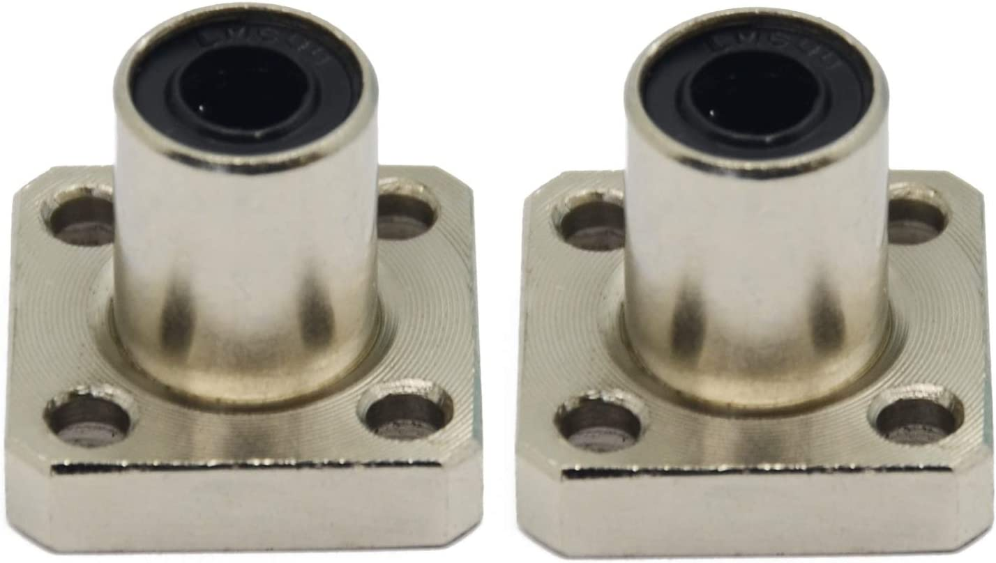 ReliaBot 2PCs LMK6LUU Square Flange Linear Ball Bearing Bushing Nickel Plated for 6mm Linear Motion Shaft of 3D Printer and CNC Machine