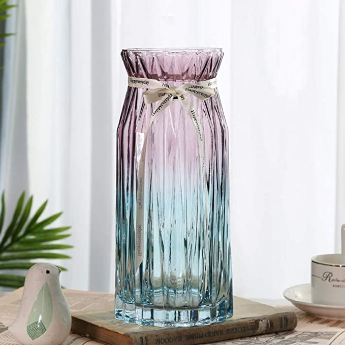 Amazon Com Jr L Home Decor Table Centerpieces Glass Vases Crystal Glass For Home Decor Modern Design Decorative Tabletop Vase Flower Pot I 10x28cm Home Kitchen
