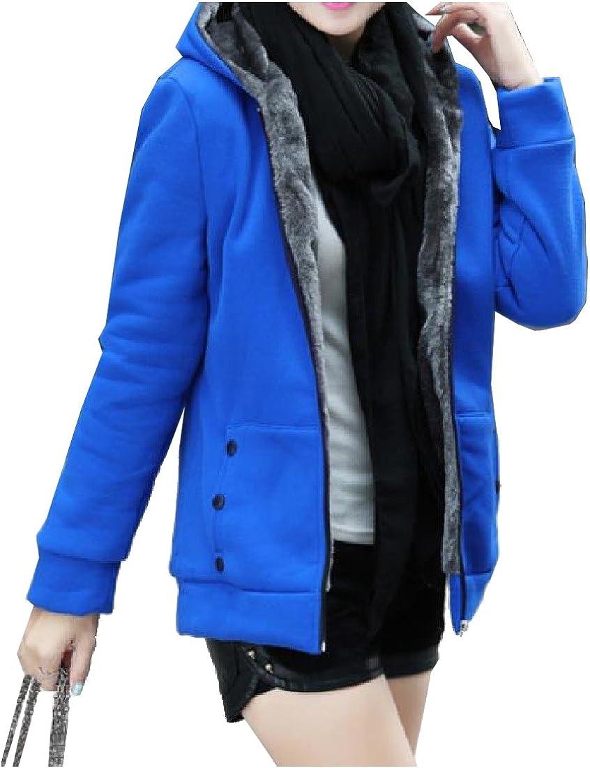 SportsX Women Velvet Oversize Open Front Outwear Thicken Hoodie Jackets