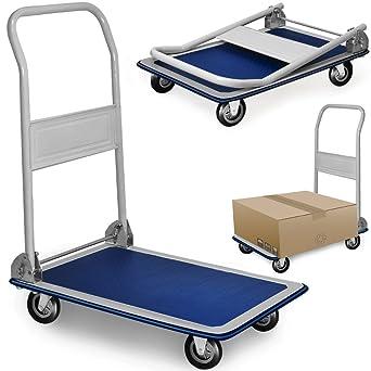 Deuba® Carretilla con plataforma | Manillar plegable 90º | 2 ruedas giratorias | 2 fijas