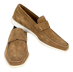 Sutor Mantellassi Brown Suede Leather Penny Loafers Shoes Size 8