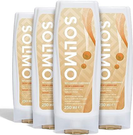 Marca Amazon - Solimo Acondicionador revitalizante para cabello dañado y seco - Paquete de 4 (4 Botellas x 250ml)
