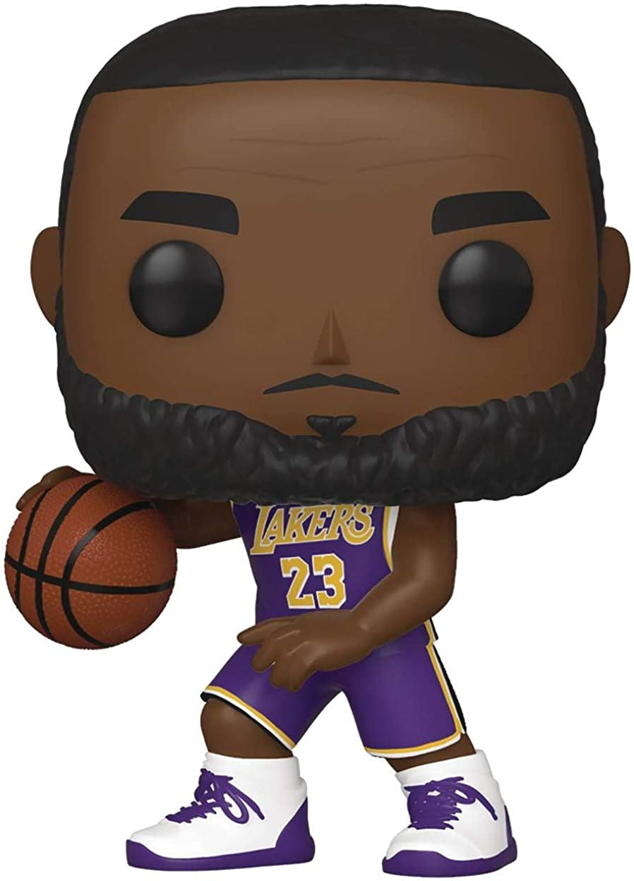 Sports NBA Action Figure Bundled with Pop Protector to Protect Display Box Lebron James LA Lakers Purple Jersey POP
